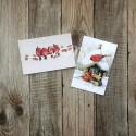 Карточки Зимние птички, односторонние, текстура холст, размер 50х80 мм., 2 шт. KA000012