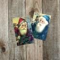 Карточки Дед мороз, односторонние, текстура холст, размер 50х80 мм., 2 шт. KA000013