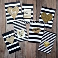 Карточки Heart чёрно-белое, односторонние, матовые, размер 50х95 мм., 7 шт. KA000018