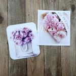 Карточки Цветы, односторонние, матовые, высота карточек 6,5 см., 2 шт. KA000023