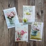 Карточки Цветы Шебби, односторонние, матовые, высота карточек 7 см., 4 шт. KA000024