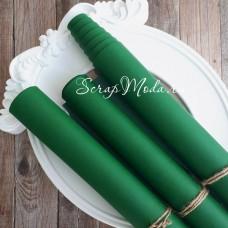 Переплётный кожзам матовый (экокожа), текстура:матовый, Зелёный, цена за отрез: 25х70 см, тонкий, толщина 1 мм., LI000344