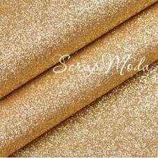Кожзам с глиттером, холодное золото, отрез размером 35х25см (+/- 2см),  KZ0000033