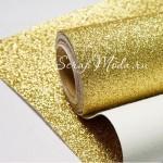 Кожзам с глиттером, Золото, отрез размером 24х70см (+/- 2см), тканевая основа, KZ000233