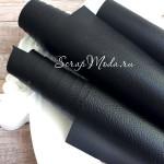 Переплетный кожзам матовый Чёрный, текстурный, отрез размером 33х70 см(+/- 1см), KZ000057