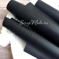 Переплётный кожзам матовый Чёрный, текстурный, отрез размером 50х70 см(+/- 1см), KZ000532