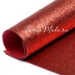 Фоамиран с глиттером, Красный, толщина 2мм, 25х30см(+/- 1см), KZ000083
