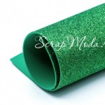 Фоамиран с глиттером, Зеленый, толщина 2мм, размер 25х30см(+/- 1см), KZ000084