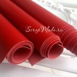 Переплётный кожзам Красный, отрез размером 25х70 см(+/- 1см), тонкий, KZ000145