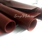 Переплетный кожзам глянец коричневый, отрез размером 35х50 см(+/- 1см), KZ000090