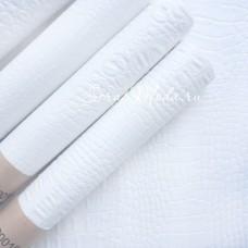 Кожзаменитель Рептилия Белая, матовая, отрез размером 35х50см., на тканной основе, толщина 0,6 мм., KZ000152