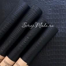 Кожзаменитель Рептилия Чёрная, матовая, отрез размером 33х70см., на тканной основе, толщина 0,6 мм., KZ000155