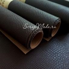 Переплётный кожзам матовый Питон, Шоколадно-Коричневый, отрез размером 25х70 см(+/- 1см), тонкий,  KZ000182