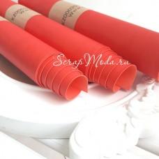 Переплётный кожзам матовый Ало-красный, отрез размером 25х70 см(+/- 1см), тонкий, KZ000207