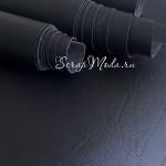 Переплётный кожзам матовый, мятая кожа, Чёрный, отрез размером 33х70 см(+/- 1см), тонкий, KZ000226