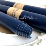 Переплетный кожзам глянец Сочно Синий, отрез размером 25х70 см(+/- 1см), тонкий, KZ000258