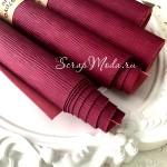 Переплётный кожзам матовый Текстура Лоза, цвет Пурпур, отрез размером 25х70 см(+/- 1см), тонкий, KZ000311