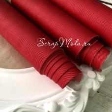 Переплётный кожзам матовый Красный-джинса, отрез размером 25х70 см(+/- 1см), тонкий, KZ000318