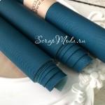 Переплётный кожзам матовый Петролевый синий-джинса, отрез размером 33х70 см(+/- 1см), тонкий, KZ000321