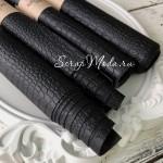Переплётный кожзам, матовый, текстура: Крокодил, Чёрный, отрез размером 50х70 см.KZ000349