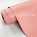 Переплётный кожзам MATTE, цвет:Нежно-Розовый, отрез размером 35х70 см(+/- 1см), тонкий, KZ000390