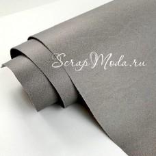 Переплётный кожзам MATTE, цвет:Серый, отрез размером 33х70 см(+/- 1см), тонкий, KZ000396