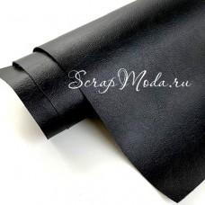 Переплётный кожзам Crump, цвет:Чёрный, отрез размером 25х70 см(+/- 1см), тонкий, KZ000405