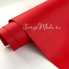 Переплётный кожзам Crump, цвет:Красный, отрез размером 25х70 см(+/- 1см), тонкий, KZ000407