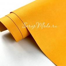 Переплётный кожзам Crump, цвет:Жёлтый, отрез размером 25х70 см(+/- 1см), тонкий, KZ000409