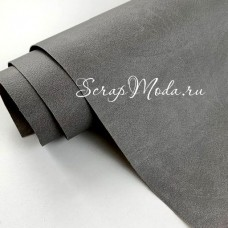 Переплётный кожзам Crump, цвет:Серый, отрез размером 25х70 см(+/- 1см), тонкий, KZ000411