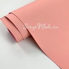 Переплётный кожзам Soft-touch, цвет:нежно-розовый, отрез размером 33х70 см(+/- 1см), тонкий, KZ000416