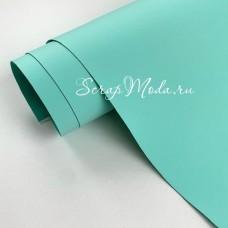 Переплётный кожзам Soft-touch, цвет:Нежно-Мятный, отрез размером 25х70 см(+/- 1см), тонкий, KZ000417