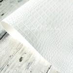 Переплётный кожзам матовый, текстура: Крокодил, цвет:Белый, отрез размером 31х70 см, тонкий, KZ000530