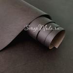 Переплётный кожзам матовый, текстура: Мятая кожа, цвет:Кофейный, отрез размером 25х70 см, тонкий, KZ000433