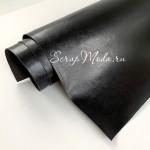 Переплётный кожзам глянцевый мятый, цвет: Чёрный, отрез размером 33х70 см(+/- 1см), тонкий, KZ000460