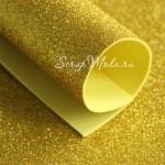 Фоамиран с глиттером, Золото, толщина 1,8 мм, размер 20х30 см(+/- 1см), KZ000464