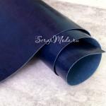 Переплетный кожзам глянец Синий, отрез размером 33х70 см(+/- 1см), тонкий, KZ000478