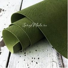 Переплётный кожзам, матовый, текстура:питон, Елово-Зелёный, отрез размером 25х70 см. KZ000513