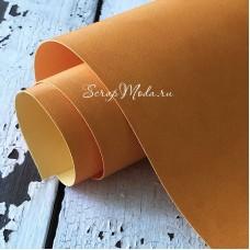Переплётный кожзам матовый (экокожа) текстура: Джинс, Золотисто-жёлтый, отрез размером 33х70 см, тонкий, KZ000516