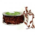 Лента Веточка с листьями, Коричневая, цена за 1 ярд, May Art, LE000210