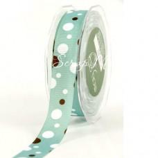 Репсовая Лента голубая с кругляшками, 24 мм., цена за 1 ярд, May Art, LE000221