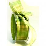 Лента Клетка - салатовая 40 мм., цена за 1 ярд,  May Art, LE000226