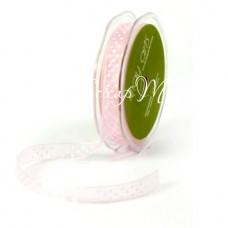 Лента органза прозрачная розовая в белый горошек, 15 мм., цена за 1 ярд, May Art, LE000364