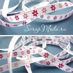 Лента Атласная 417, принт, белая с розовыми и малиновыми цветочками, 6 мм, цена за 1 метр, LE000416
