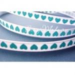 Лента Атласная 420, принт, белая с голубыми сердечками, 6 мм, цена за 1 метр