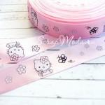 Лента атласная розовая с принтом Hello Kitty, 20 мм., цена за 1 метр, LE000441