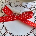 Лента репсовая Polka Dots, красная в беоый горох, размер помпона 12 мм., цена за 1 метр, LE000455