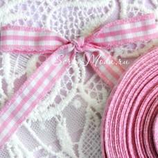Лента х/б, розовая клетка, 10 мм,  цена за 1 метр, LE000458