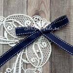 Лента репсовая,синяя с белой строкой, 15 мм, цена за 1 метр, LE000463