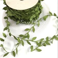 Лента Веточка с листьями, цвет олива, листик 25 мм, цена за 1 метр, LE000464